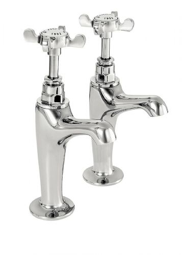 Deva CR27A Coronation Traditional Chrome High Neck Kitchen Sink Taps (pair)